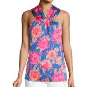 Ava & Aiden Pink & Blue Floral Halterneck Top Sz S